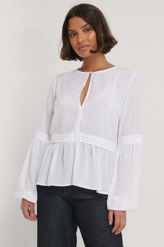 Recycled Pleated Waist Flowy Blouse White