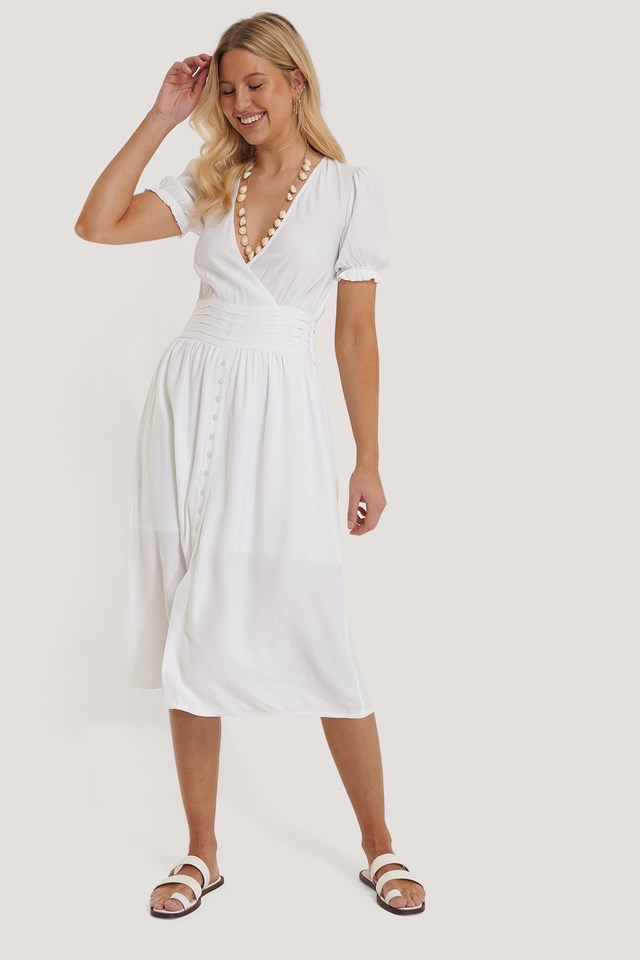 Pleated Waist Viscose Dress White