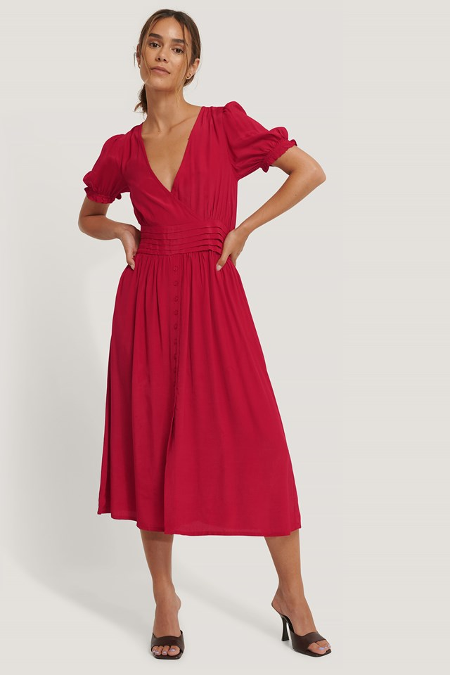 Pleated Waist Viscose Dress Red