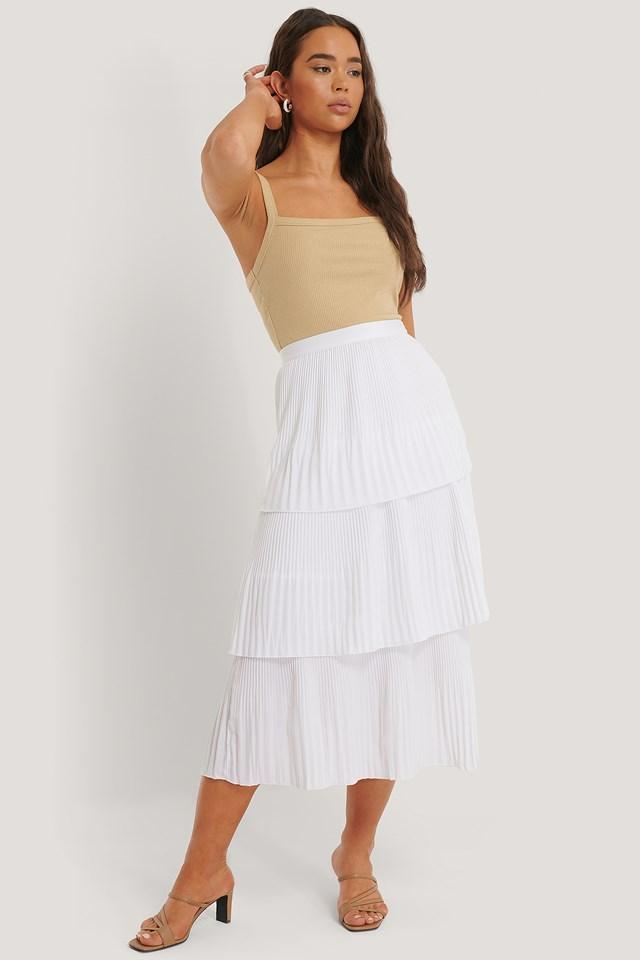 Offwhite Plisse Ankle Skirt
