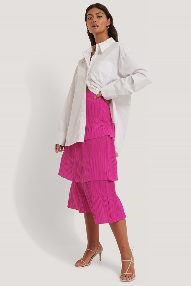 Plisse Ankle Skirt Strong Pink
