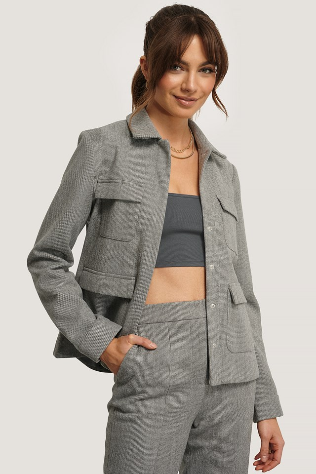 Pockets Jacket Grey Check