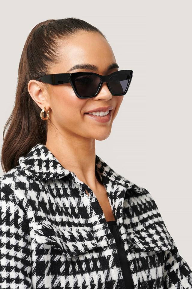 Pointy Squared Cateye Sunglasses Black