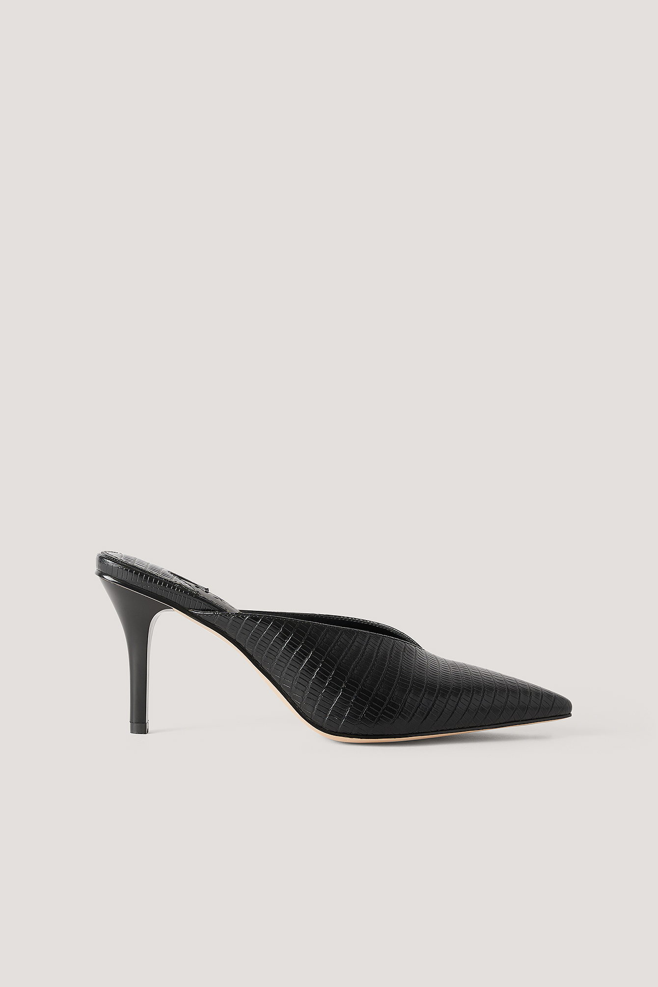 Black Pointy Squared Back Mules