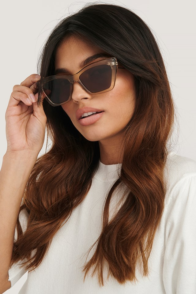 Pointy Squared Cateye Sunglasses Amber