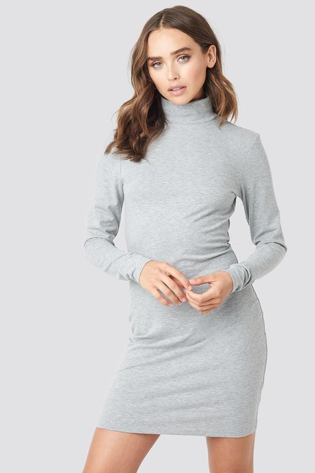 Grey Melange Polo Neck Dress