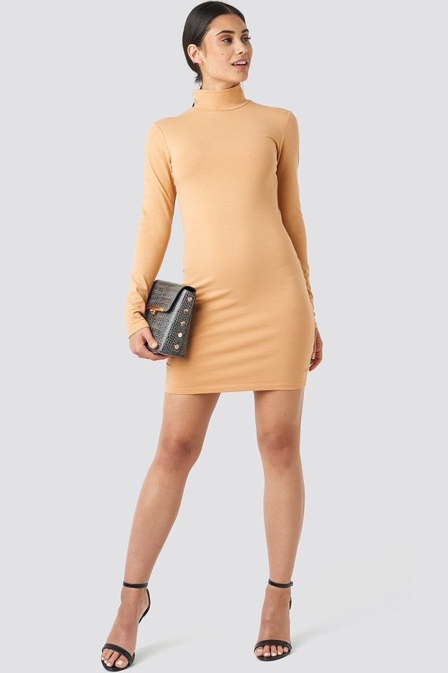 Beige Polo Neck Dress