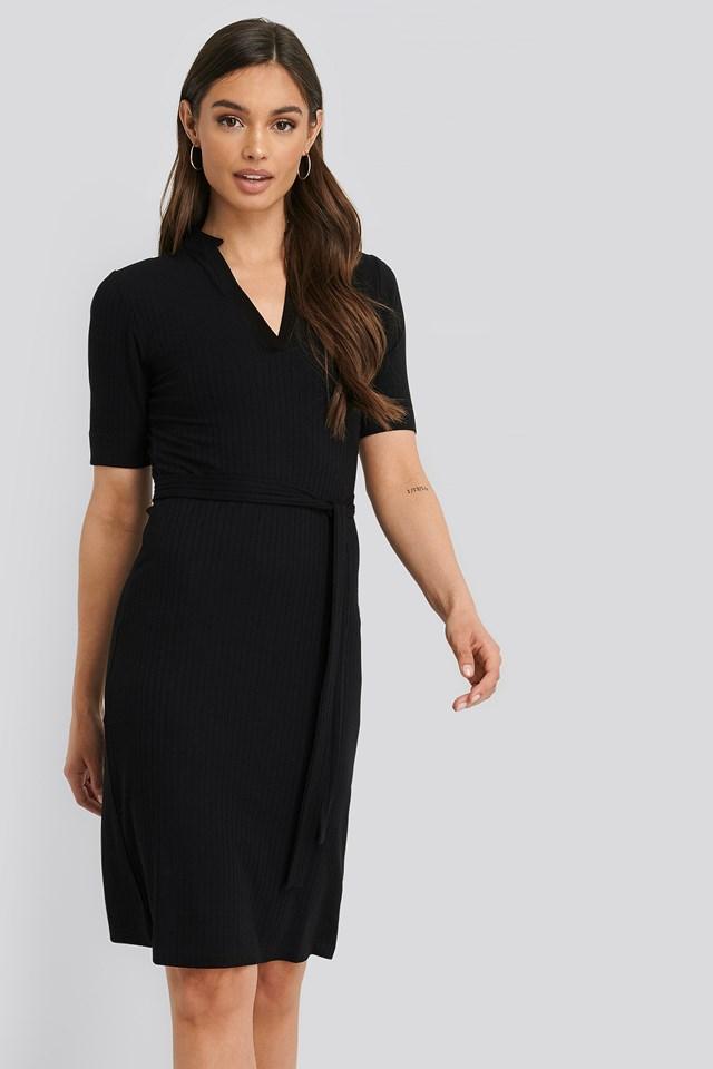 V-Neck Jersey Midi Dress Deep Black