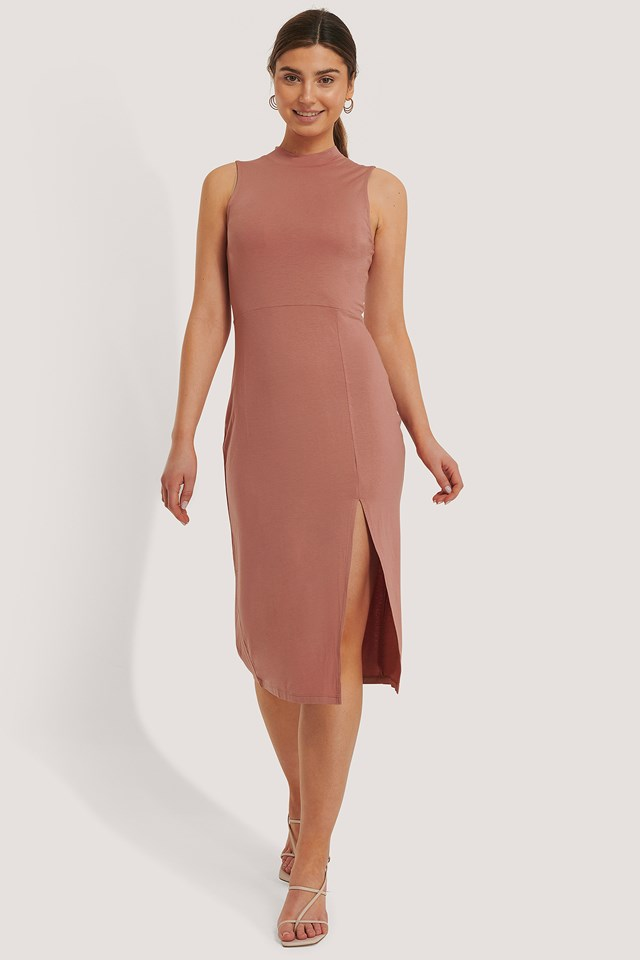 Polo Neck Sleeveless Slit Dress Dusty Dark Pink