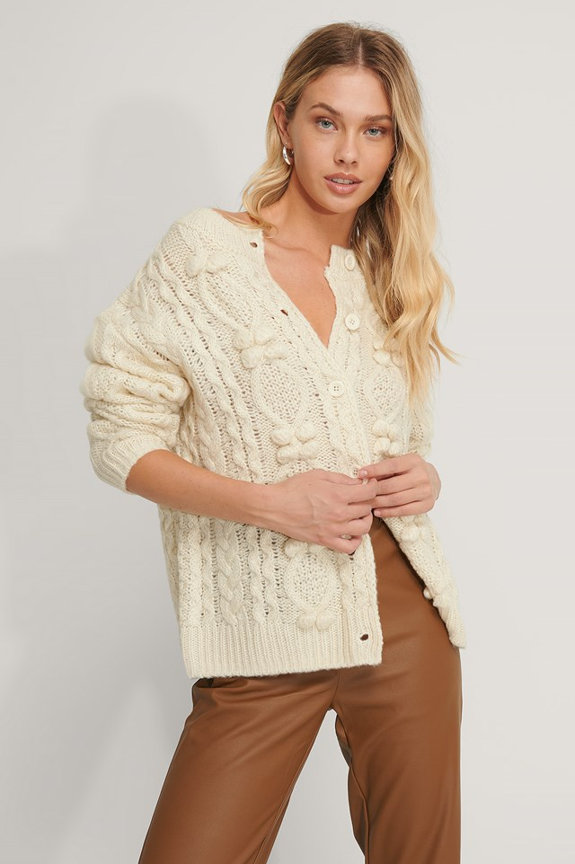 Pom Pom Detail Knitted Cardigan Offwhite