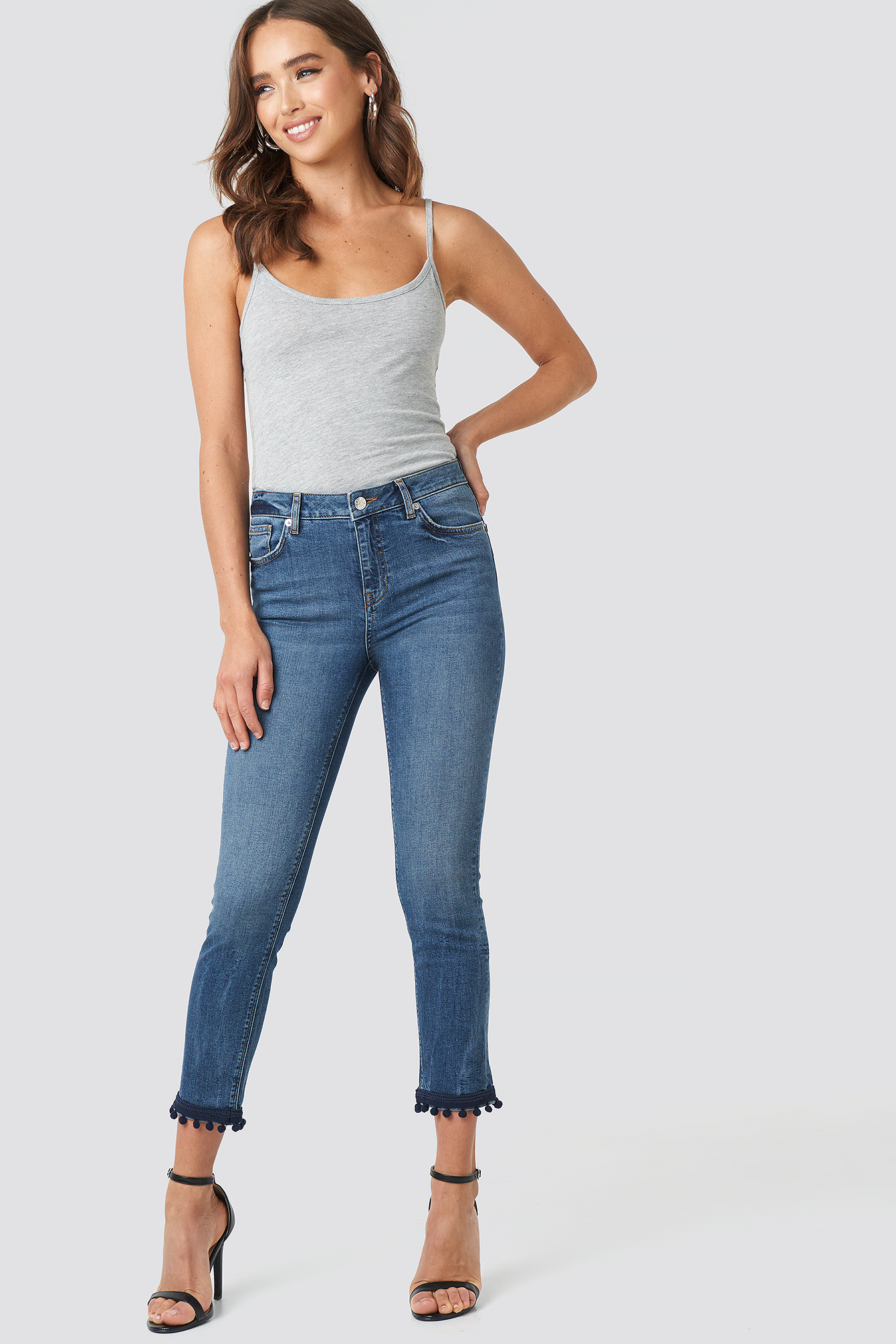 Light Blue Wash Pom Pom Trim Skinny Jeans