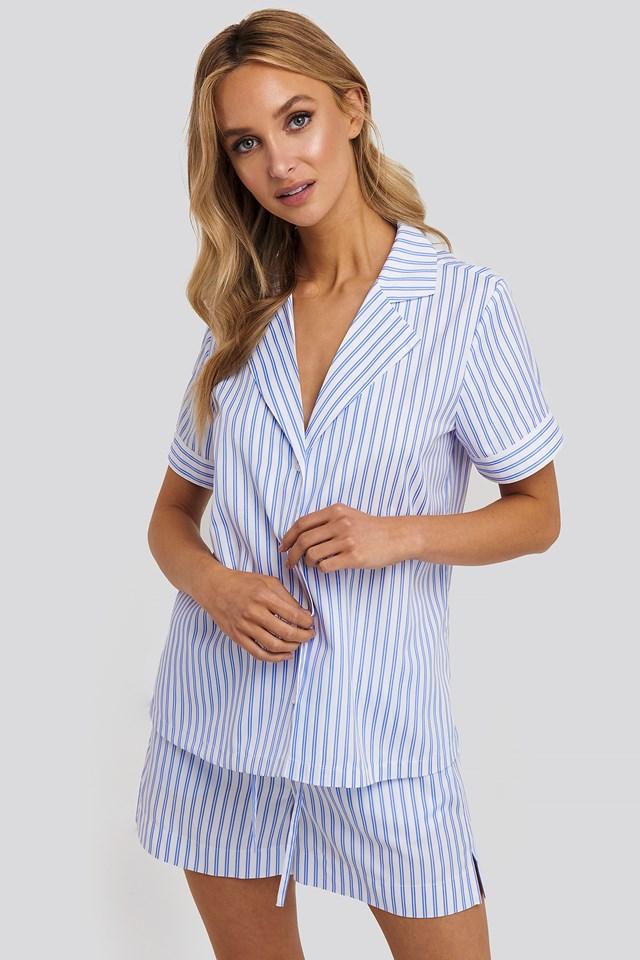Poplin Cotton Night Shirt Blue/White Stripe