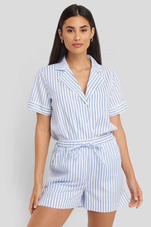 Blue/White Stripe Poplin Cotton Night Shorts