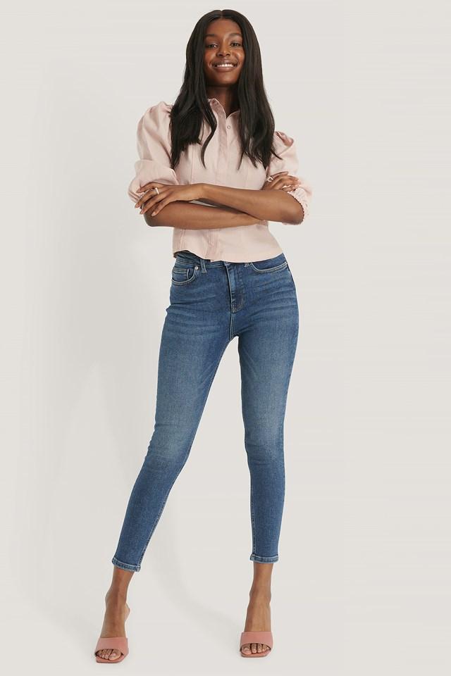 Powerstretch Skinny High Waist Jeans Dark Blue