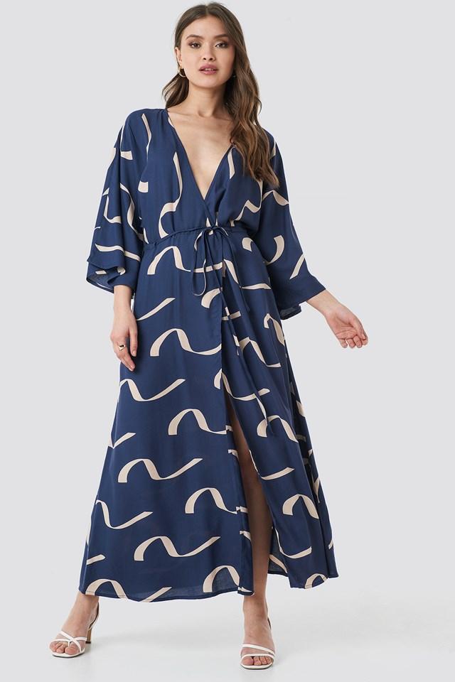 Printed Coat Dress Wave Blue