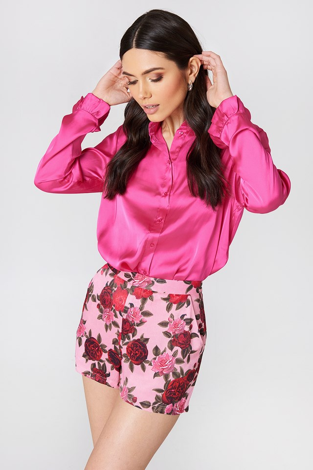Pink Floral Printed High Waist Shorts