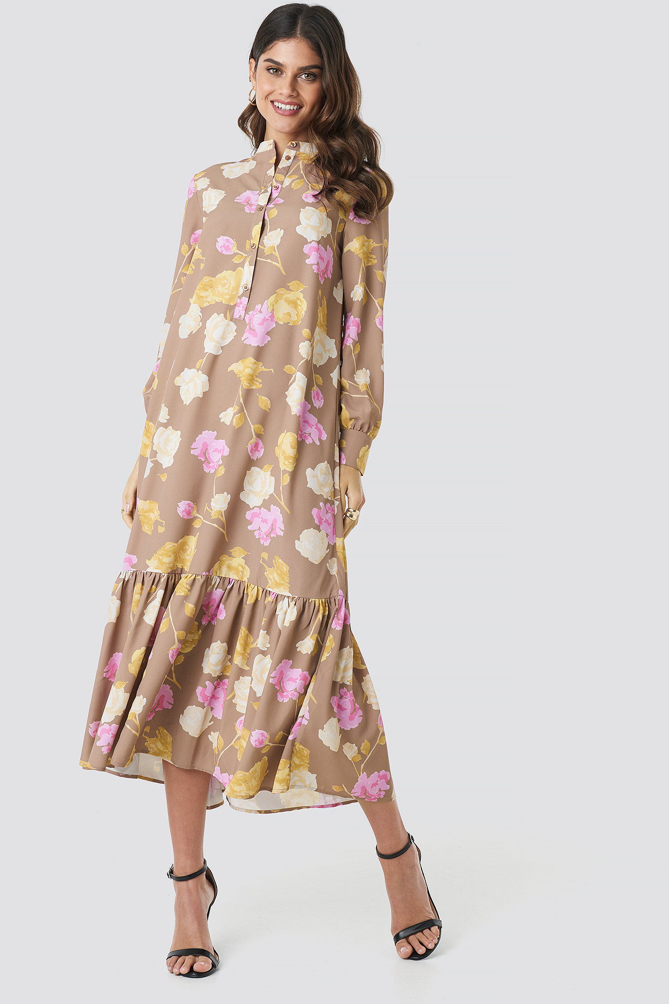 Pastel Rose Brown Printed Maxi Dress