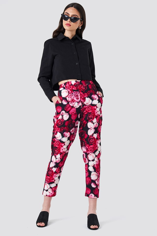 Pink Flower Printed Straight Pants