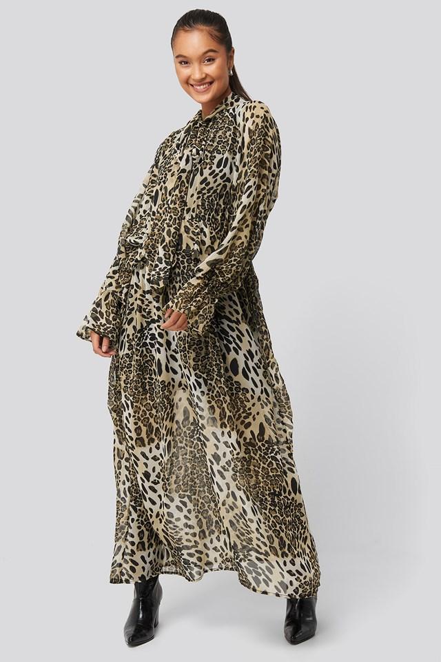 Printed Tie Collar Maxi Dress Leopard