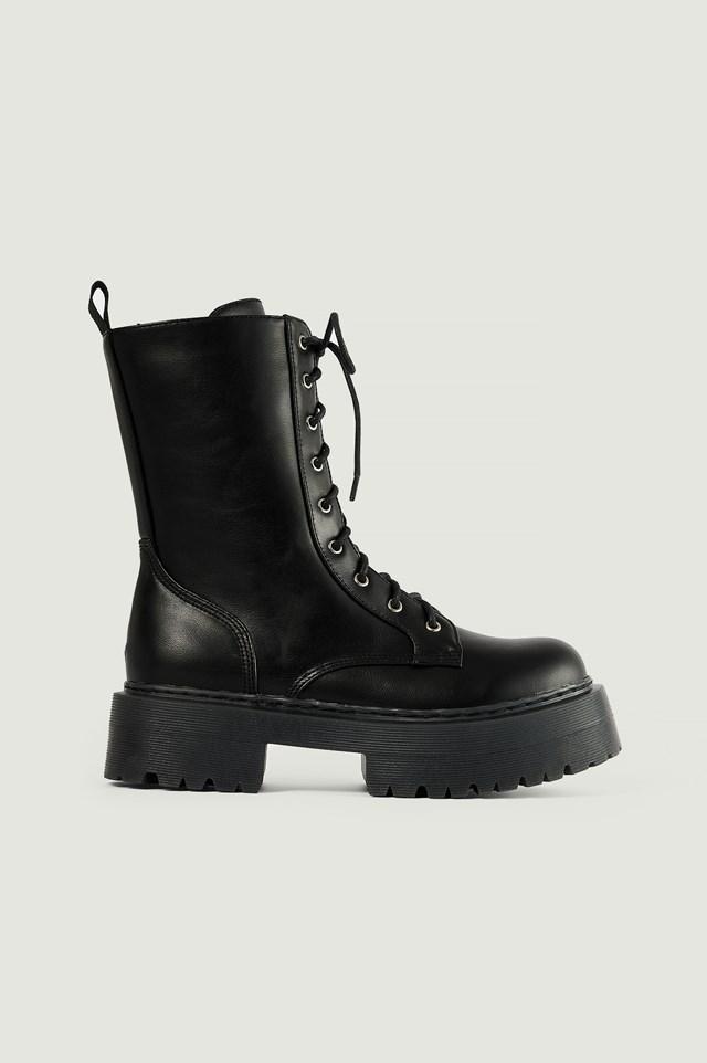 Black Profile Lace Up Boots