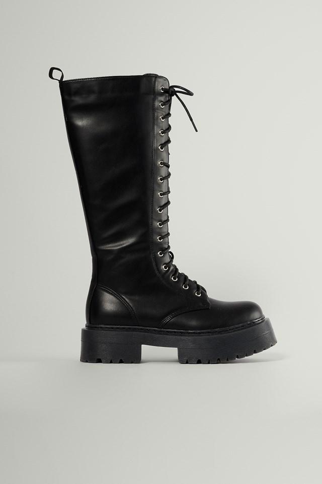Black Profile Lace Up Shaft Boots
