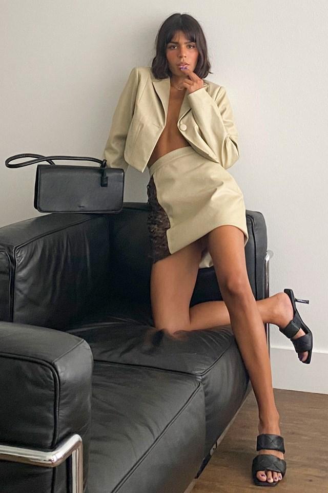 Pu Detailed Mini Skirt Beige