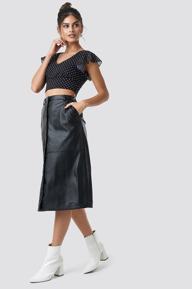 Black PU Midi Skirt