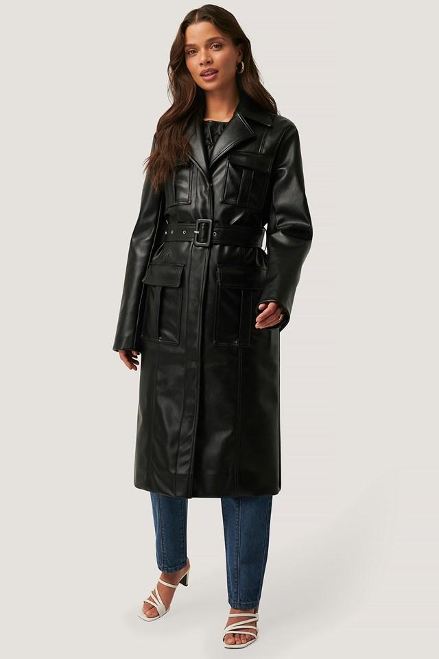 PU Pocket Coat Black