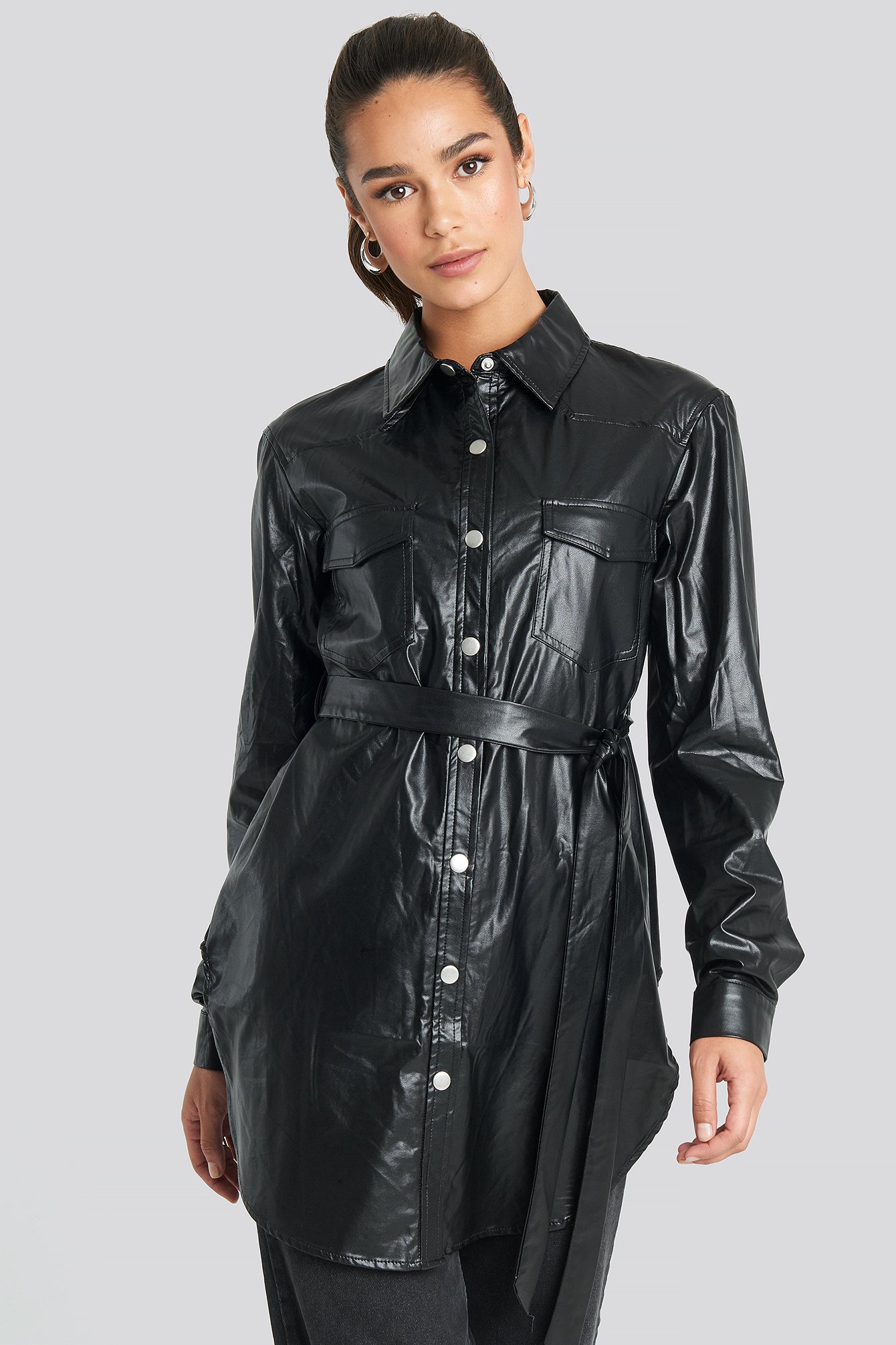 Black Pu Shirt Jacket