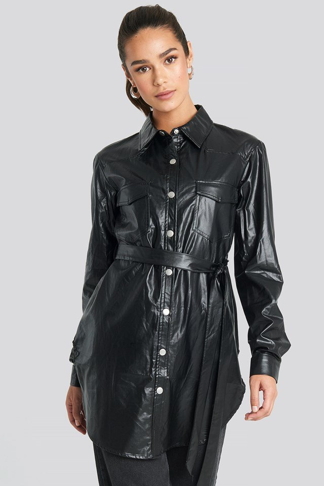 Pu Shirt Jacket Black