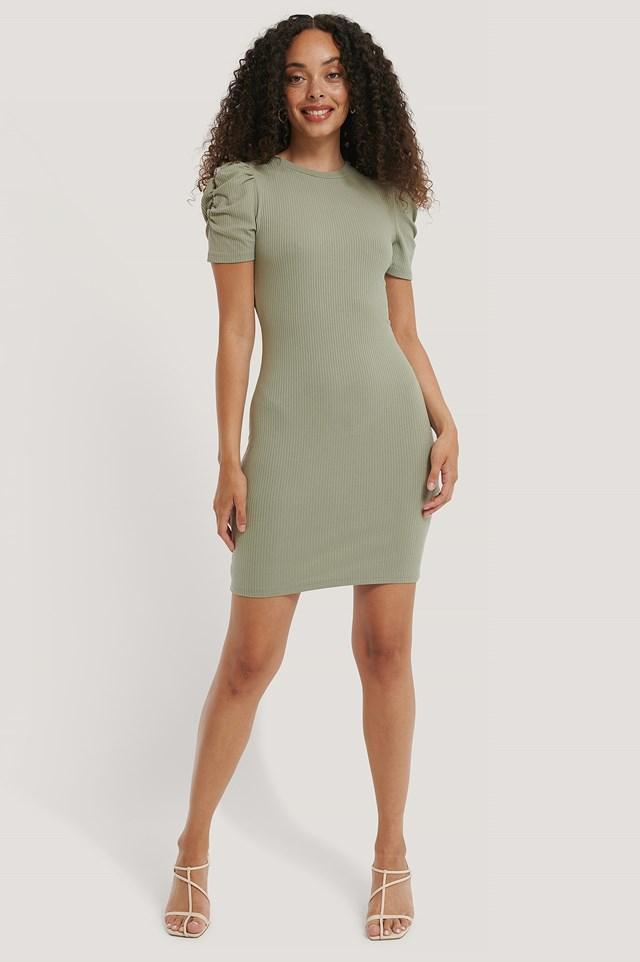 Puff Shoulder Short Sleeve Dress Dusty Green