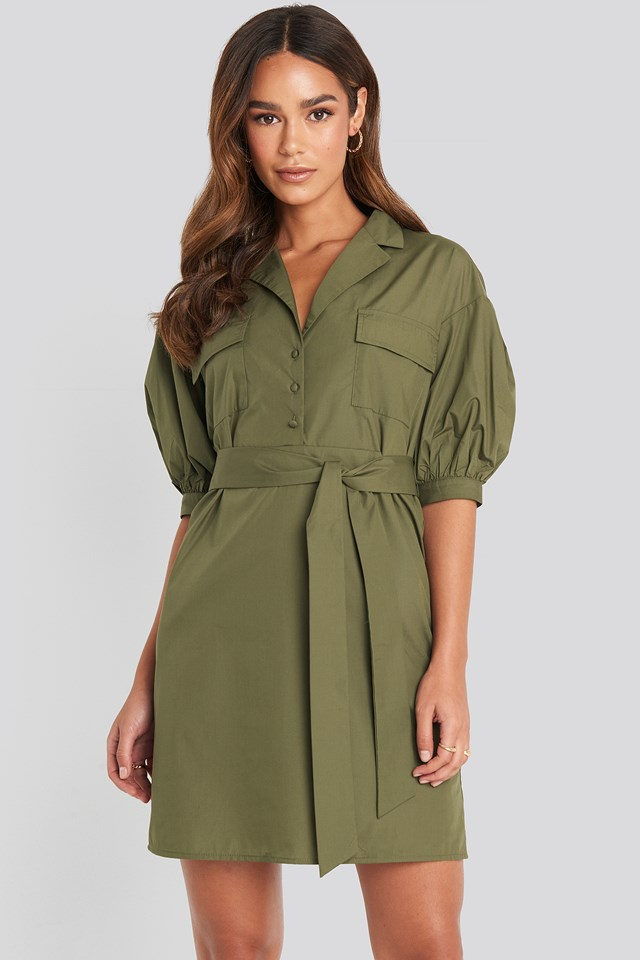 Puff Sleeve Chest Pocket Mini Dress Green