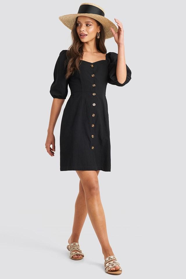 Puff Sleeve Cotton Mini Dress Black