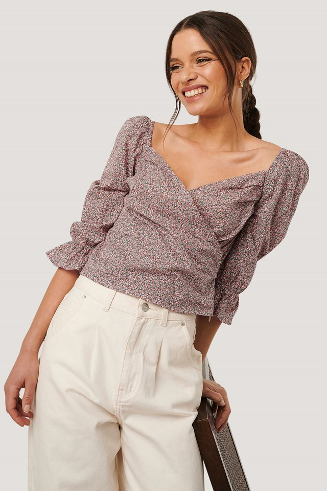 Pink Flower Puff Sleeve Cropped Blouse