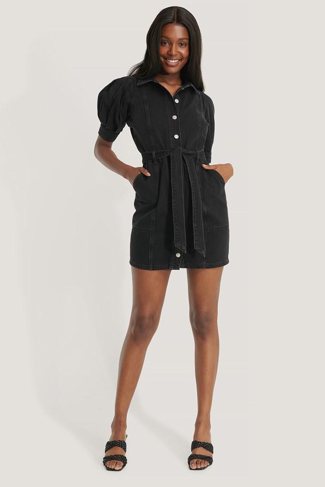 Puff Sleeve Denim Dress Black