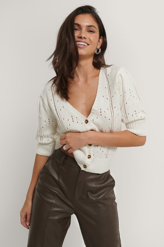 Puff Sleeve Knitted Cardigan White