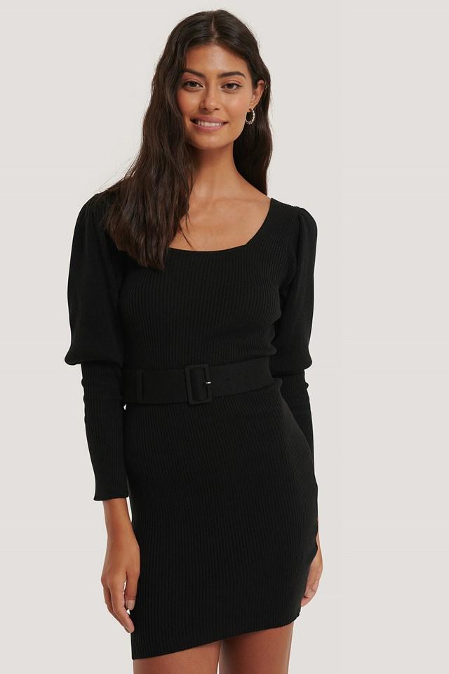 Puff Sleeve Knitted Dress Black