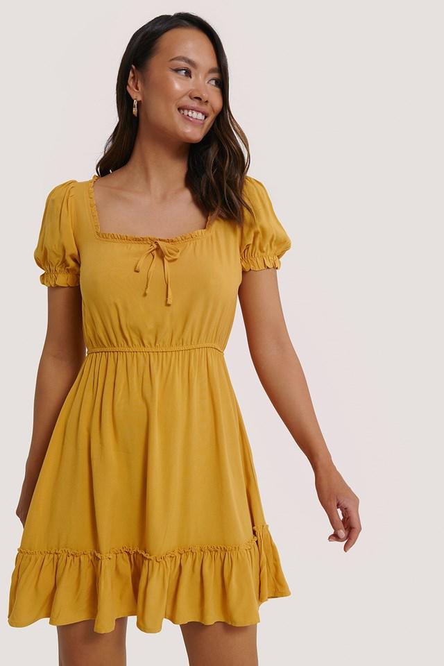Yellow Puff Sleeve Mini Dress