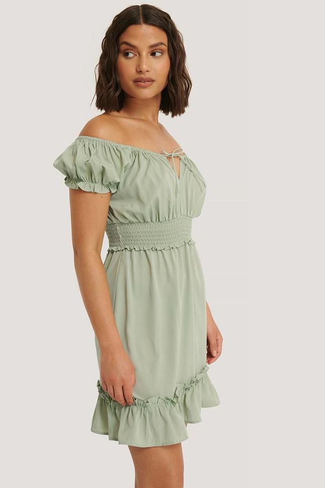 Puff Sleeve Mini Flounce Dress Dusty Green