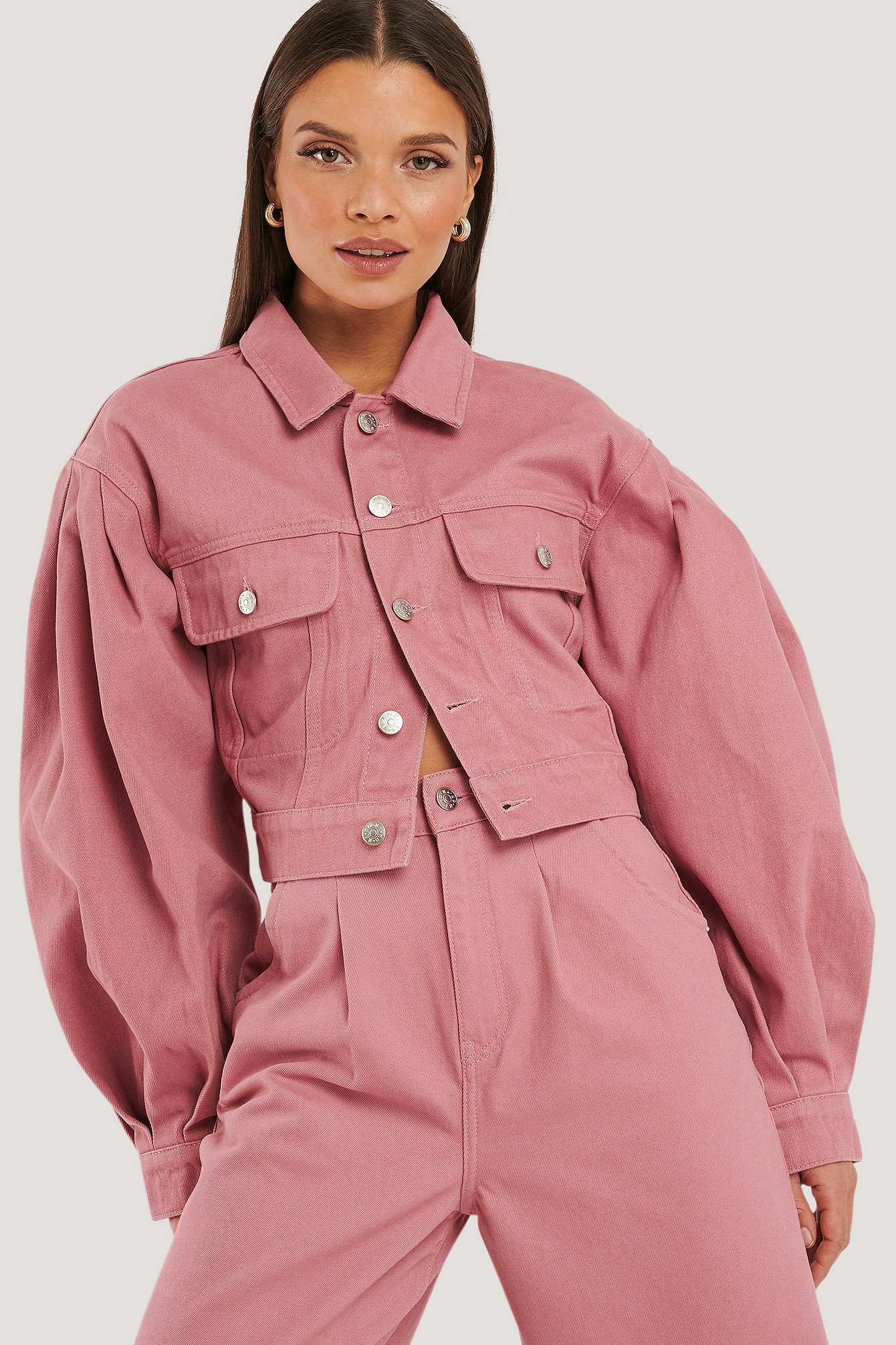 Dusty Rose Puff Sleeve Oversized Denim Jacket