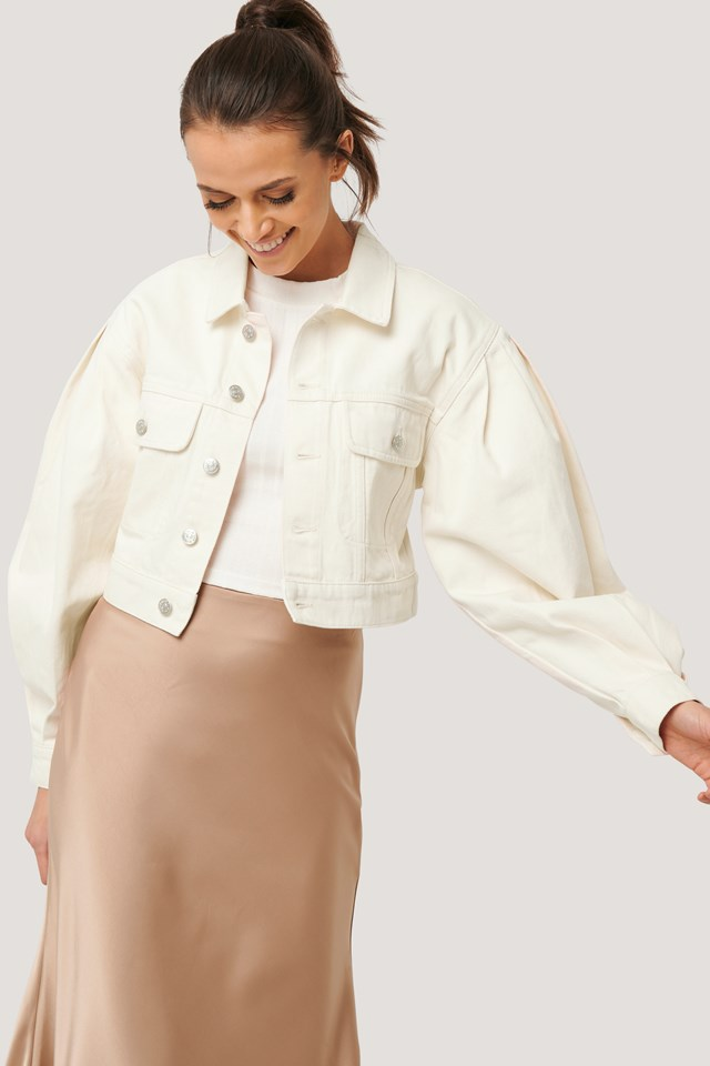 Puff Sleeve Oversized Denim Jacket Eggshell