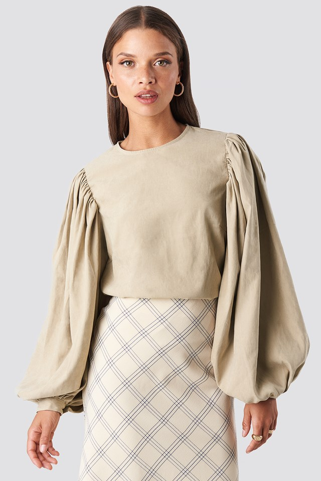 Puff Sleeve Round Neck Top Beige