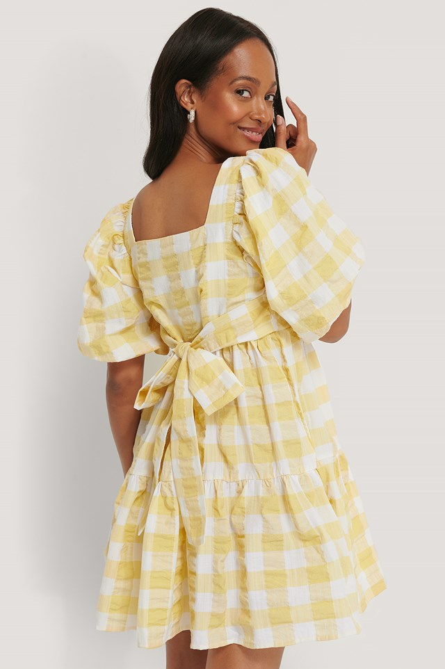 Yellow Puff Sleeve Smock Mini Dress