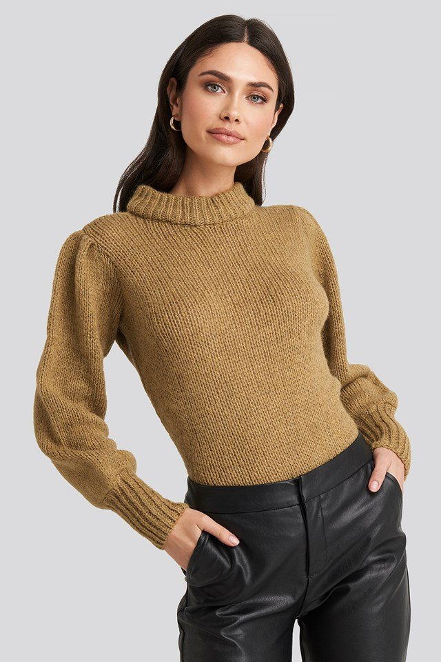 Beige Puff Sleeve Wide Neck Knitted Sweater