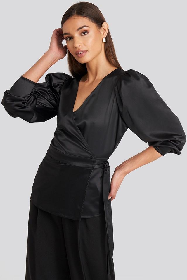 Deep Black Puff Sleeve Wrap Blouse