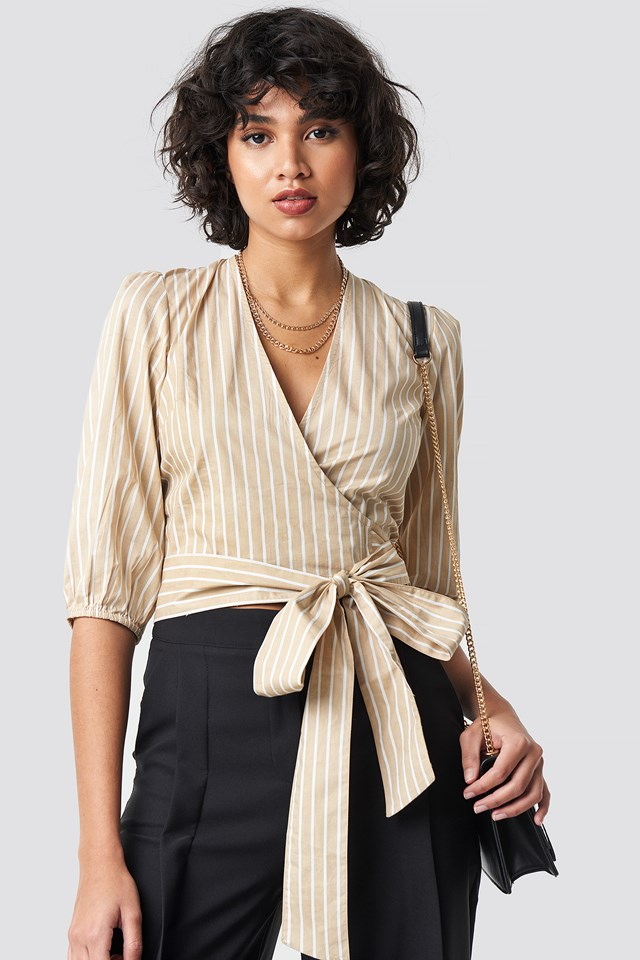 Puff Sleeve Wrap Crop Top Stripe