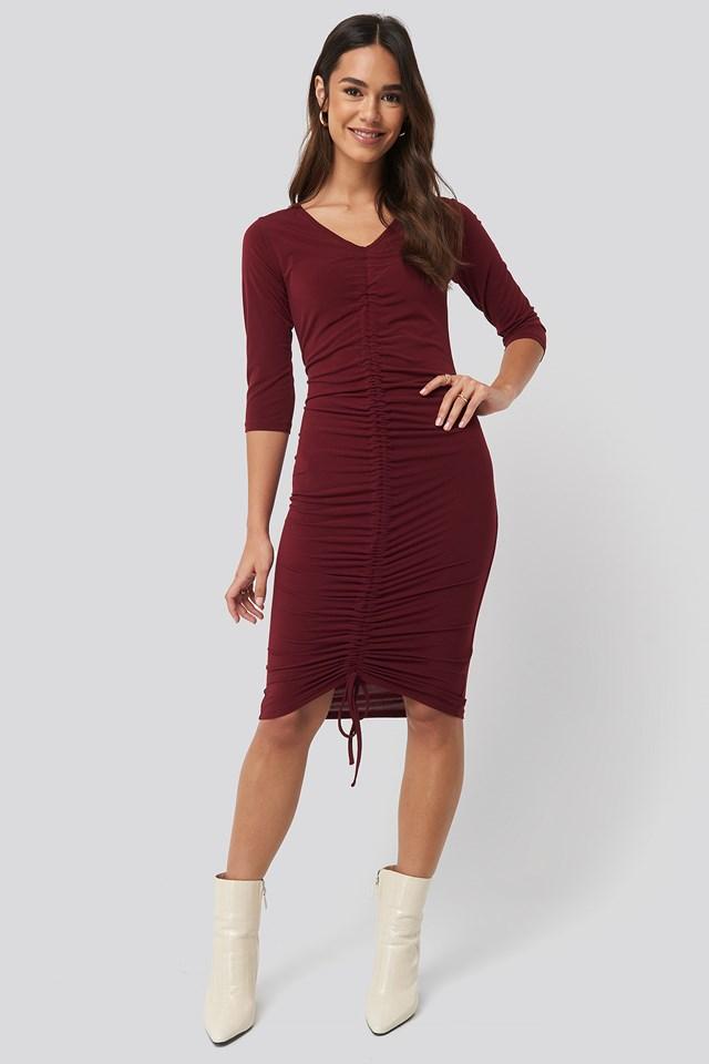 Pull String Dress Burgundy