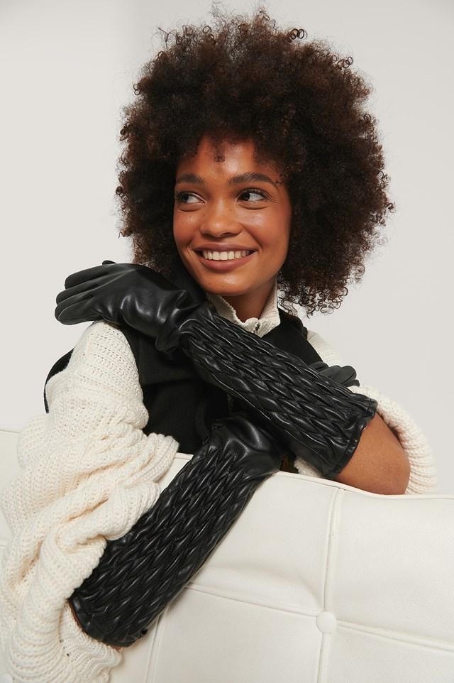 Quilt Detailed Long Gloves Black