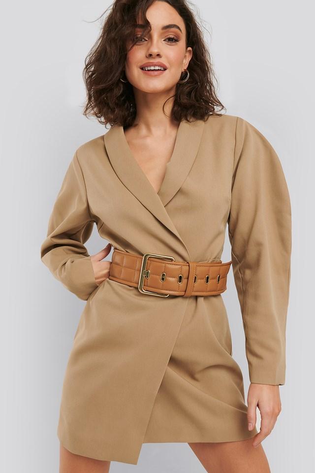 Cognac Quilted Belt