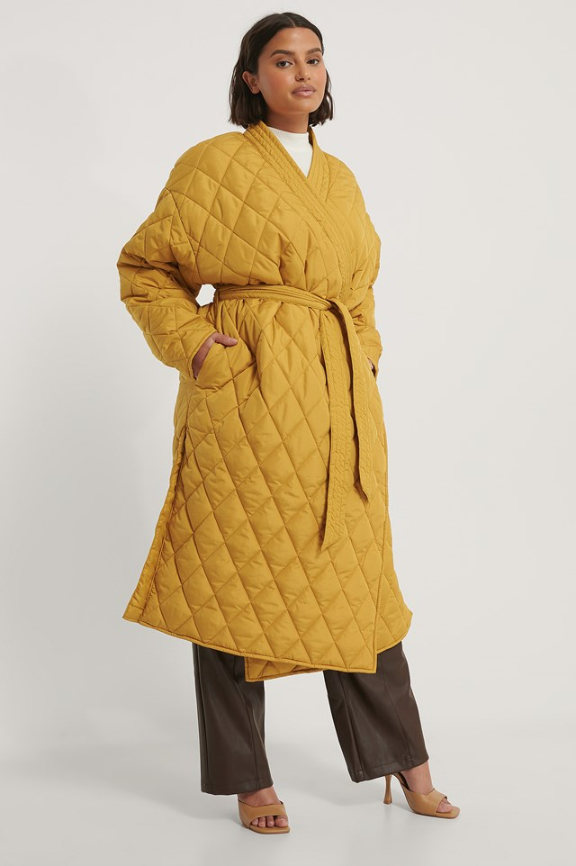 Mustard Quilted Kimono Coat